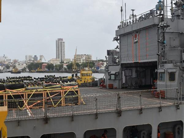 Indian Navy ship carrying medical aid from Kuwait, Qatar reaches Mumbai Port on Thursday.