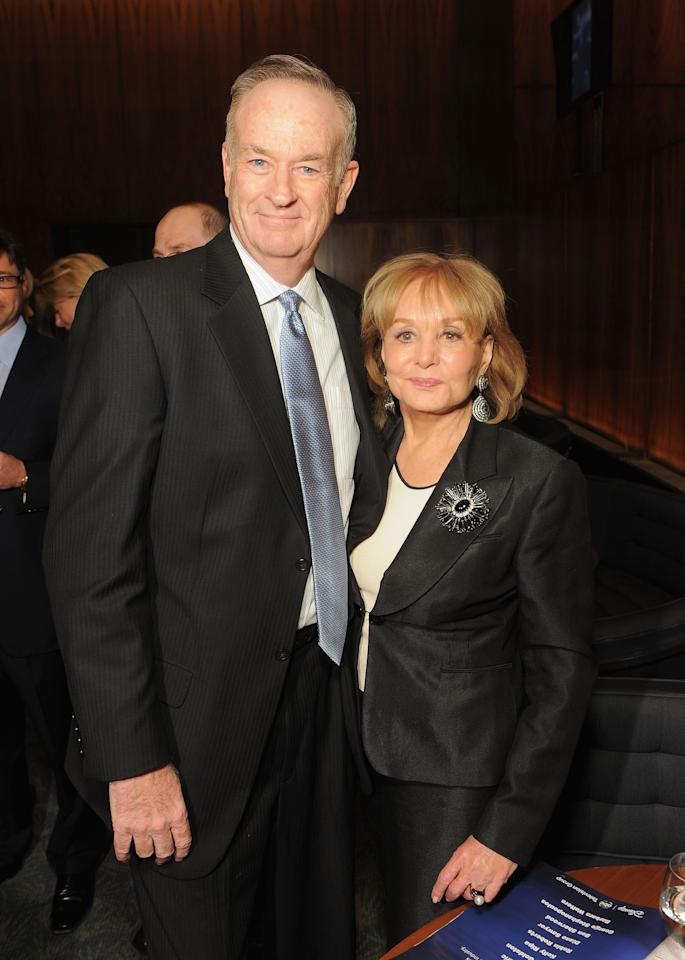 "NEW YORK, NY - APRIL 11:  Bill O'Reilly and Barbara Walters attend the Hollywood Reporter celebration of ""The 35 Most Powerful People in Media"" at the Four Season Grill Room on April 11, 2012 in New York City.  (Photo by Larry Busacca/Getty Images)"