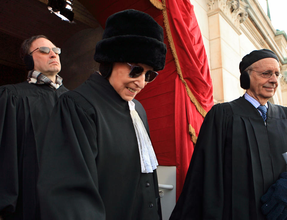 Ginsburg arrives at the Capitol for the inauguration of President Obama, flanked by fellow justices Samuel Alito, left, and Steven Breyer, right. (Photo: J. Scott Applewhite/Pool/AP)
