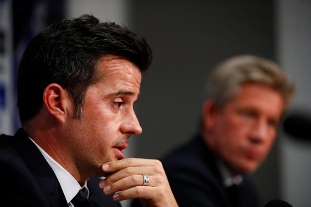 Soccer Football - England - Premier League - Everton - Marco Silva Press Conference - Finch Farm, Liverpool, Britain - June 4, 2018 Everton manager Marco Silva and Everton Director of Football Marcel Brands during the press conference REUTERS/Jason Cairnduff