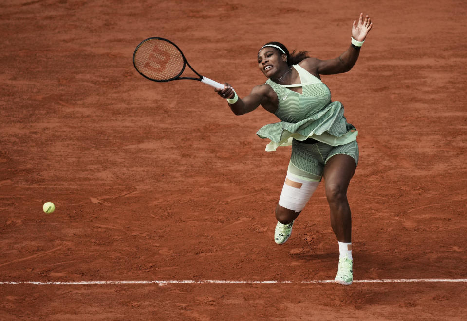 United States Serena Williams plays a return to Kazakhstan's Elena Rybakina during their fourth round match on day 8, of the French Open tennis tournament at Roland Garros in Paris, France, Sunday, June 6, 2021. (AP Photo/Thibault Camus)