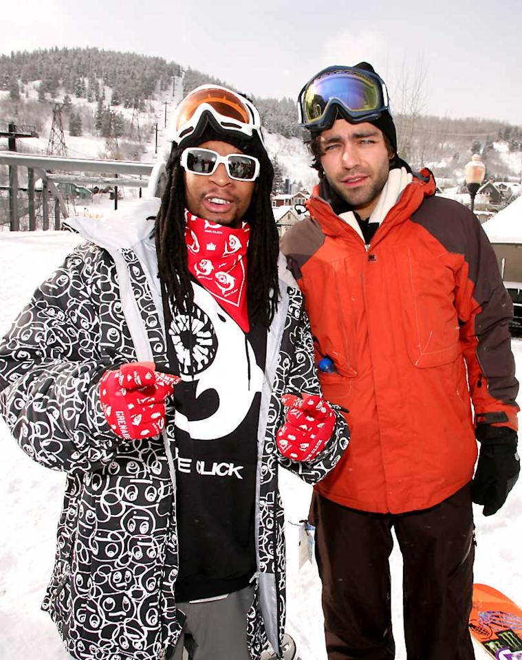 """Rapper Lil Jon and actor Adrian Grenier hit the slopes while at the Sundance Film Festival in Park City, UT. Chris Polk/<a href=""""http://www.wireimage.com"""" target=""""new"""">WireImage.com</a> - January 21, 2008"""