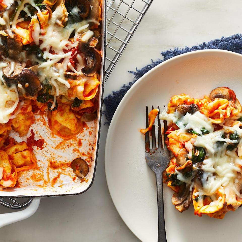 "<p>This cheesy tortellini bake is a dish the whole family will love--it's filled with sweet-tasting marinara, mushrooms and spinach and topped with melted cheese. Complete the meal, plus get in another vegetable serving, by adding a side of broccoli or a small green salad. <a href=""http://www.eatingwell.com/recipe/275722/spinach-mushroom-tortellini-bake/"" rel=""nofollow noopener"" target=""_blank"" data-ylk=""slk:View recipe"" class=""link rapid-noclick-resp""> View recipe </a></p>"
