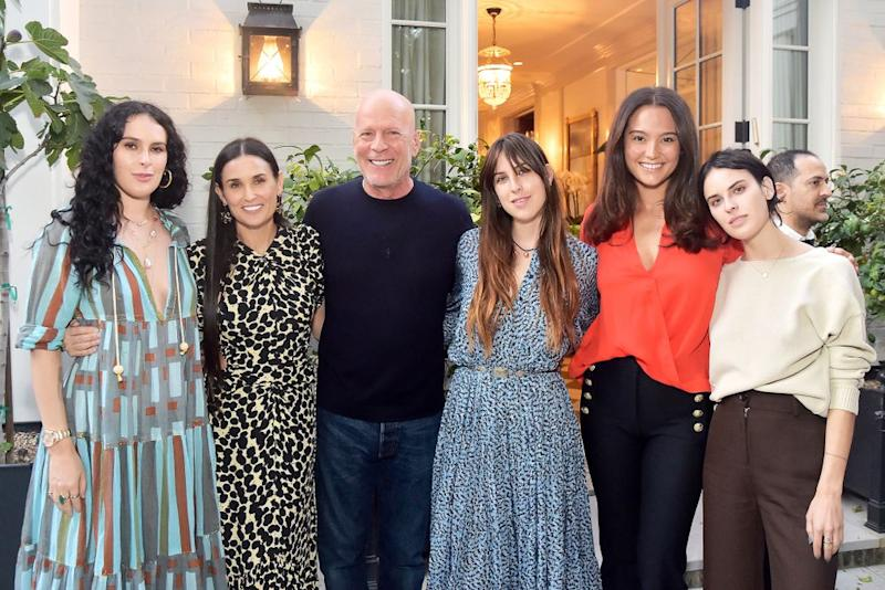 (L-R) Rumer Willis, Demi Moore, Bruce Willis, Scout Willis, Emma Heming Willis and Tallulah Willis | Stefanie Keenan/Getty