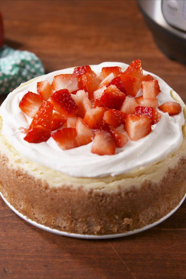 """<p>This classic cheesecake is a must-try when it comes to desserts you can make in your Instant Pot — especially since it only takes 10 minutes of preparation time.</p><p><em><a href=""""https://www.delish.com/cooking/recipe-ideas/recipes/a57879/instant-pot-cheesecake-recipe/"""" rel=""""nofollow noopener"""" target=""""_blank"""" data-ylk=""""slk:Get the recipe from Delish »"""" class=""""link rapid-noclick-resp"""">Get the recipe from Delish »</a></em></p>"""