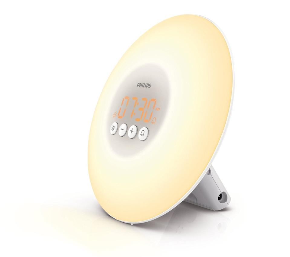 """<h3><a href=""""https://amzn.to/35Pc9hs"""" rel=""""nofollow noopener"""" target=""""_blank"""" data-ylk=""""slk:Philips Wake-Up Light Alarm Clock"""" class=""""link rapid-noclick-resp"""">Philips Wake-Up Light Alarm Clock</a></h3><br>Our readers care about sleep hygiene — which is why this top-rated alarm clock that uses simulated sunlight for a more gradual and natural wake process was a top-carted buy this past year. And guess what? It's 18% off. <br><br><strong>Philips</strong> Wake-Up Light Alarm Clock, $, available at <a href=""""https://amzn.to/35Pc9hs"""" rel=""""nofollow noopener"""" target=""""_blank"""" data-ylk=""""slk:Amazon"""" class=""""link rapid-noclick-resp"""">Amazon</a>"""