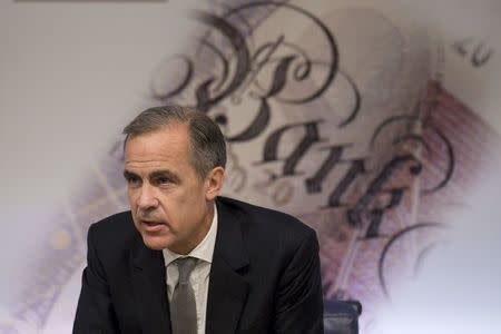 Governor of the Bank of England Mark Carney hosts a Financial Stability Report press conference at the Bank of England in central London