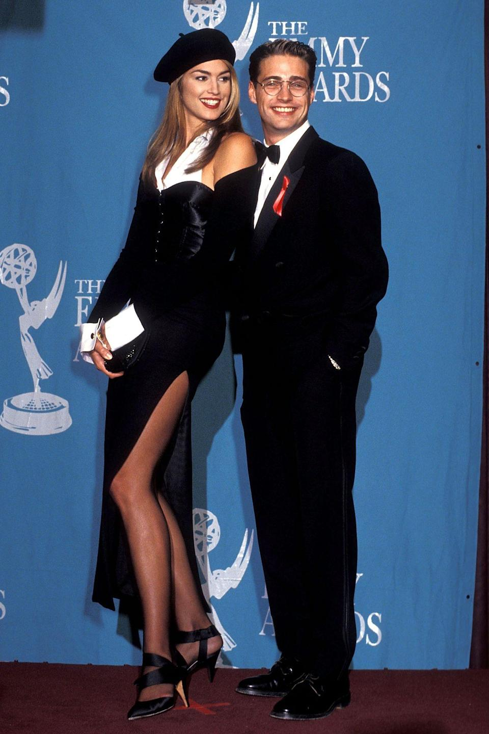 <p>Coordinating with Jason Priestley at the 44th Annual Primetime Emmy Awards in Pasadena, California, in 1992.</p>