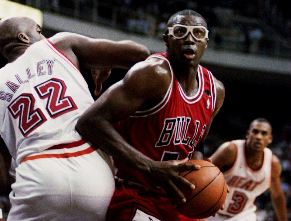 """Michael Jordan points the finger at Horace Grant for feeding information for Sam Smith's """"The Jordan Rules"""" book. (Doug Collier/AFP via Getty Images)"""