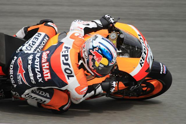 Spain's Dani Pedrosa rides his motorbike to third place during the qualifying pratice session of the Czech Republic Grand Prix in Moto GP on August 25, 2012 in Brno ahead of the Grand prix on August 26. AFP PHOTO/RADEK MICARADEK MICA/AFP/GettyImages
