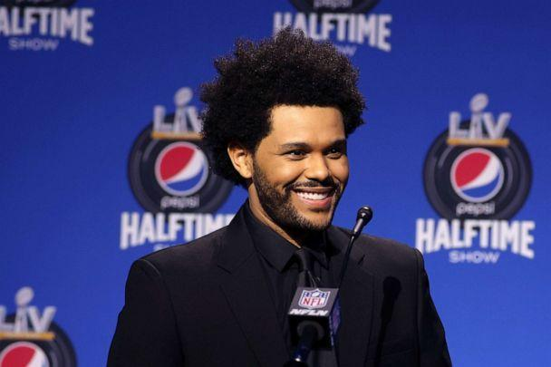 PHOTO: This photo provided by the NFL shows singer The Weeknd speaking at the halftime press conference ahead of the Super Bowl 55 football game, Feb. 4, 2021, in Tampa, Fla.  (Perry Knotts/AP)