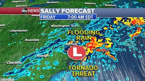 PHOTO: Thursday night into Friday early morning, the flooding threat moves into southern Virginia, from Norfolk to Richmond. (ABC News)