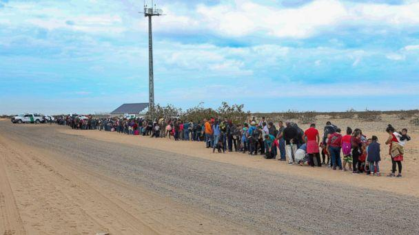 PHOTO: A record large group of 376 migrants tunneled under the border wall near Yuma, Arizona, and turned themselves in to Border Patrol officials for asylum. (Yuma Sector Border Patrol)