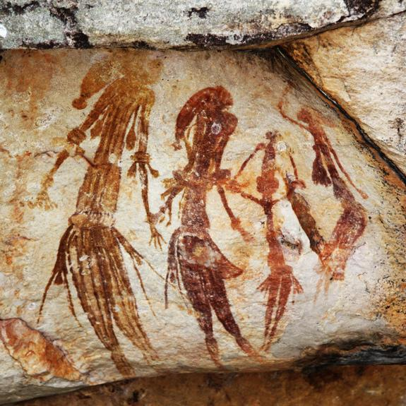The Gwion culture flourished in Australia at least 17,000 years ago, and often depicted slim figures in large groups