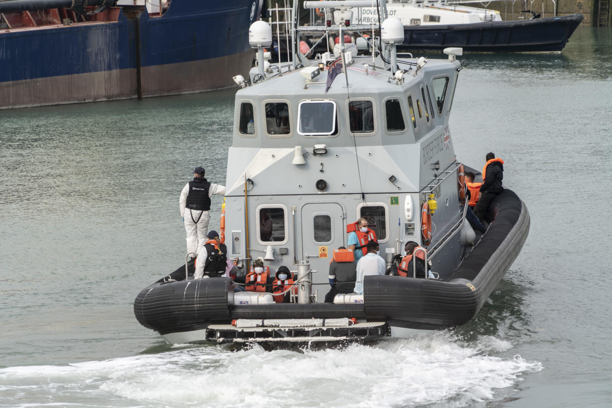 Migrants brought on shore by the border force at Dover port. Increasing numbers of migrants have been sailing in small boats out of French territorial waters into the English Channel where they are legally brought ashore by the UK border force. The migrants are then able to seek for asylum in the UK. (Photo by Edward Crawford / SOPA Images/Sipa USA)