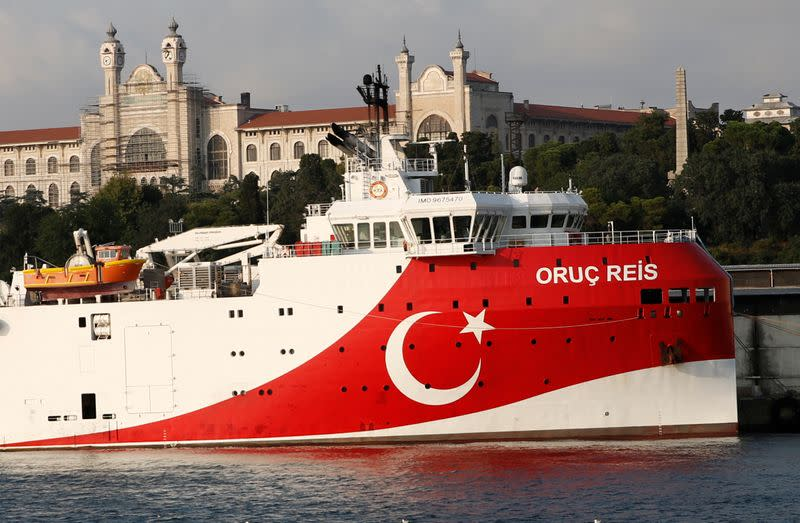Turkish seismic research vessel Oruc Reis is seen in Istanbul
