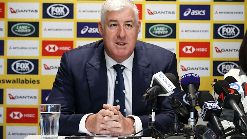 Rugby Australia chairman Cameron Clyne speaks to the media. (Photo by Mark Kolbe/Getty Images)