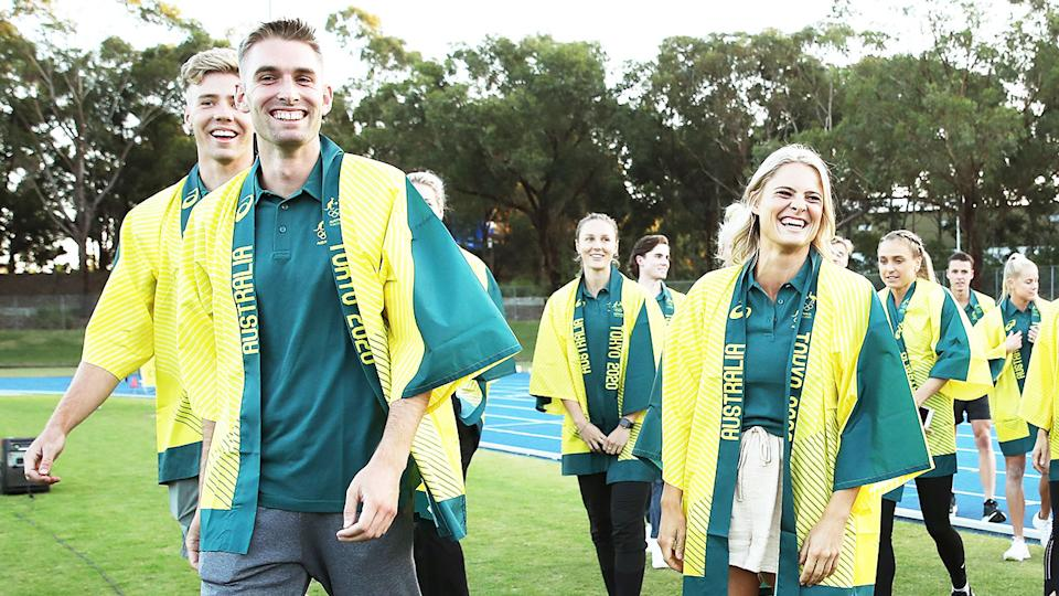 Australian athletes selected for the Tokyo 2020 Olympic Games gather during the Australian Track & Field Championships in 2021.