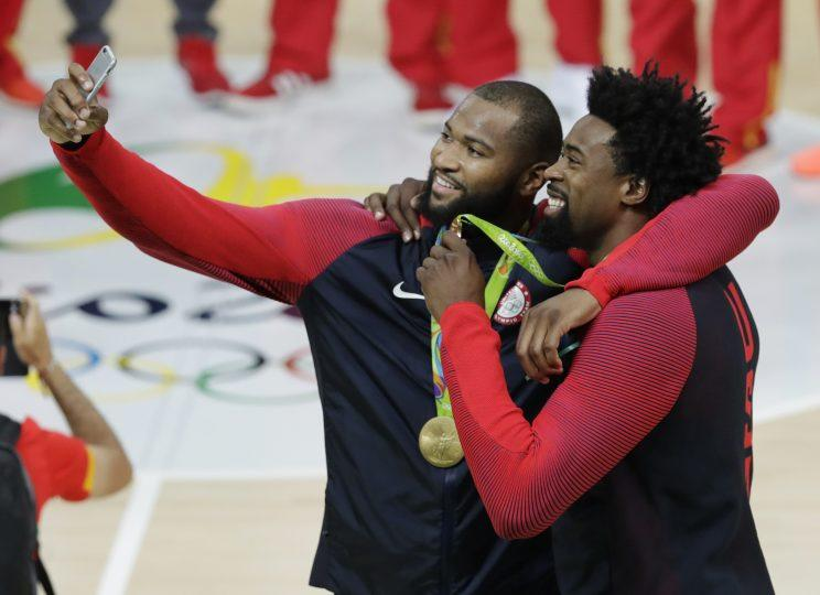 USA Basketball teammates DeMarcus Cousins and DeAndre Jordan could be in the free agent picture in 2018. (AP)