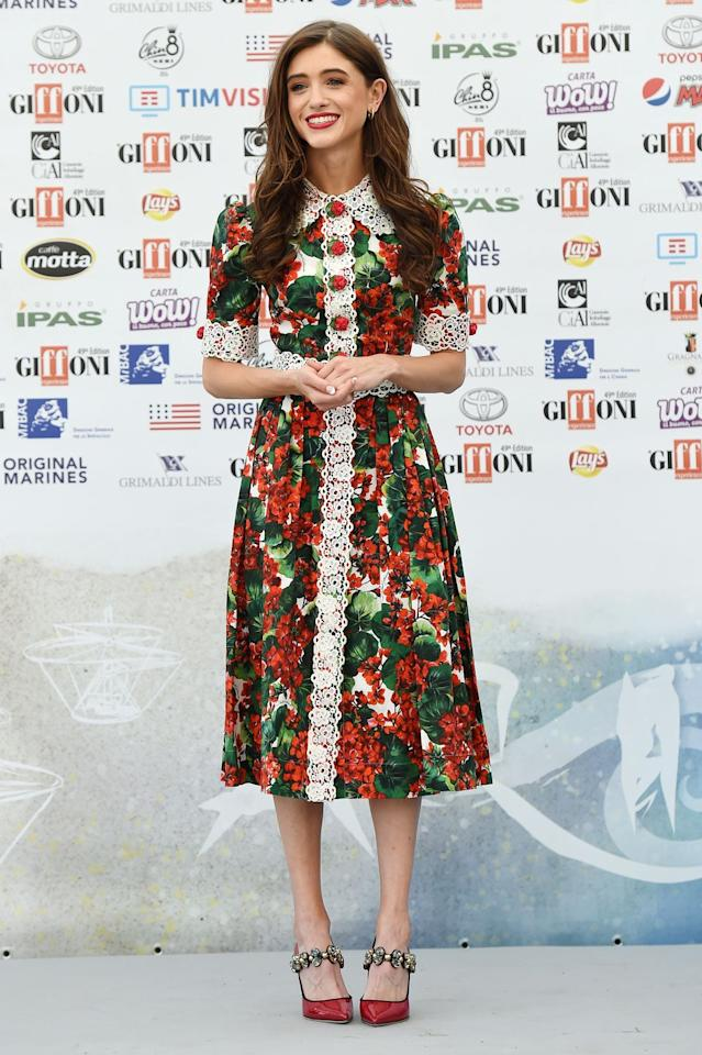 <p><strong>21 July </strong>Natalia Dyer in a delicate floral lace design at the Giffoni Film Festival. </p>