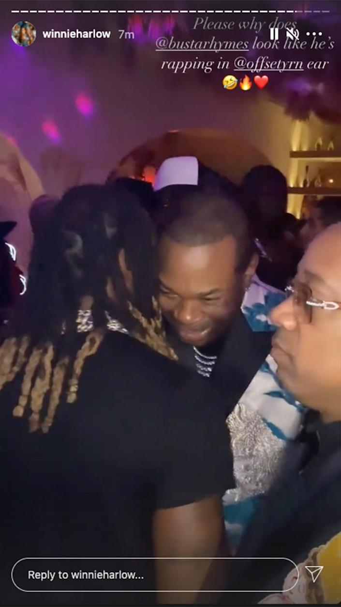 <p>At one of the night's exclusive afterparties, Winnie Harlow got a peek of Busta Rhymes greeting Offset. </p>