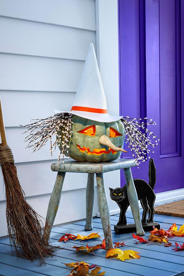 """<p>Make this white felt hat for your betwitching pumpkin if your sorceress is of the pure magic variety, or opt for black if her intentions are more sinister. </p><p><a rel=""""nofollow"""" href=""""http://wdy.h-cdn.co/assets/downloads/1504898520_-_witchhat-template.pdf"""">Get the witch hat template.</a></p>"""