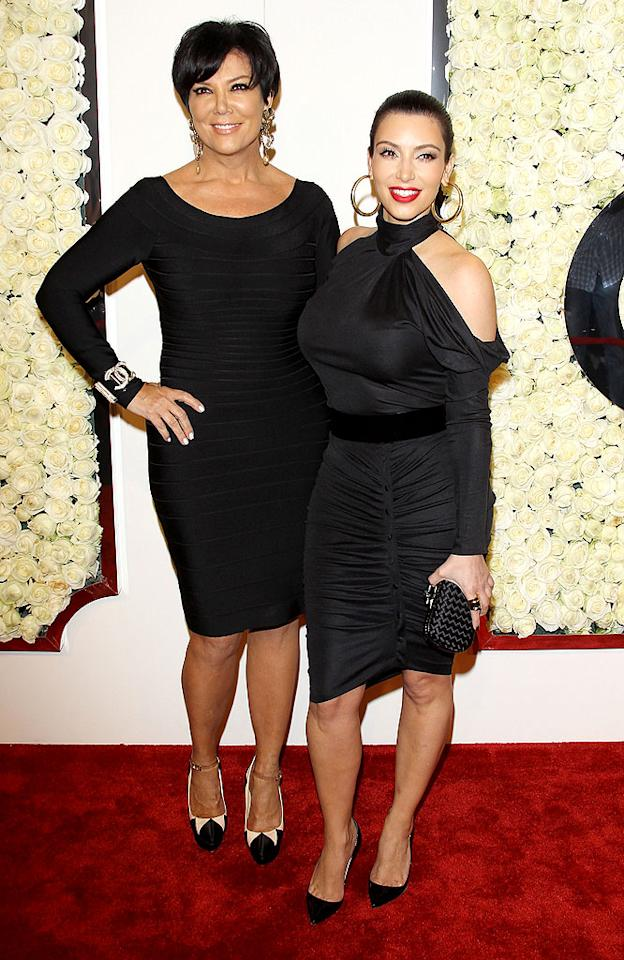 "BEVERLY HILLS, CA - FEBRUARY 23:  Kris Jenner (L) and Kim Kardashian arrive at the QVC ""Buzz On The Red Carpet"" cocktail party held at Four Seasons Hotel Los Angeles on February 23, 2012 in Beverly Hills, California.  (Photo by Michael Tran/FilmMagic)"