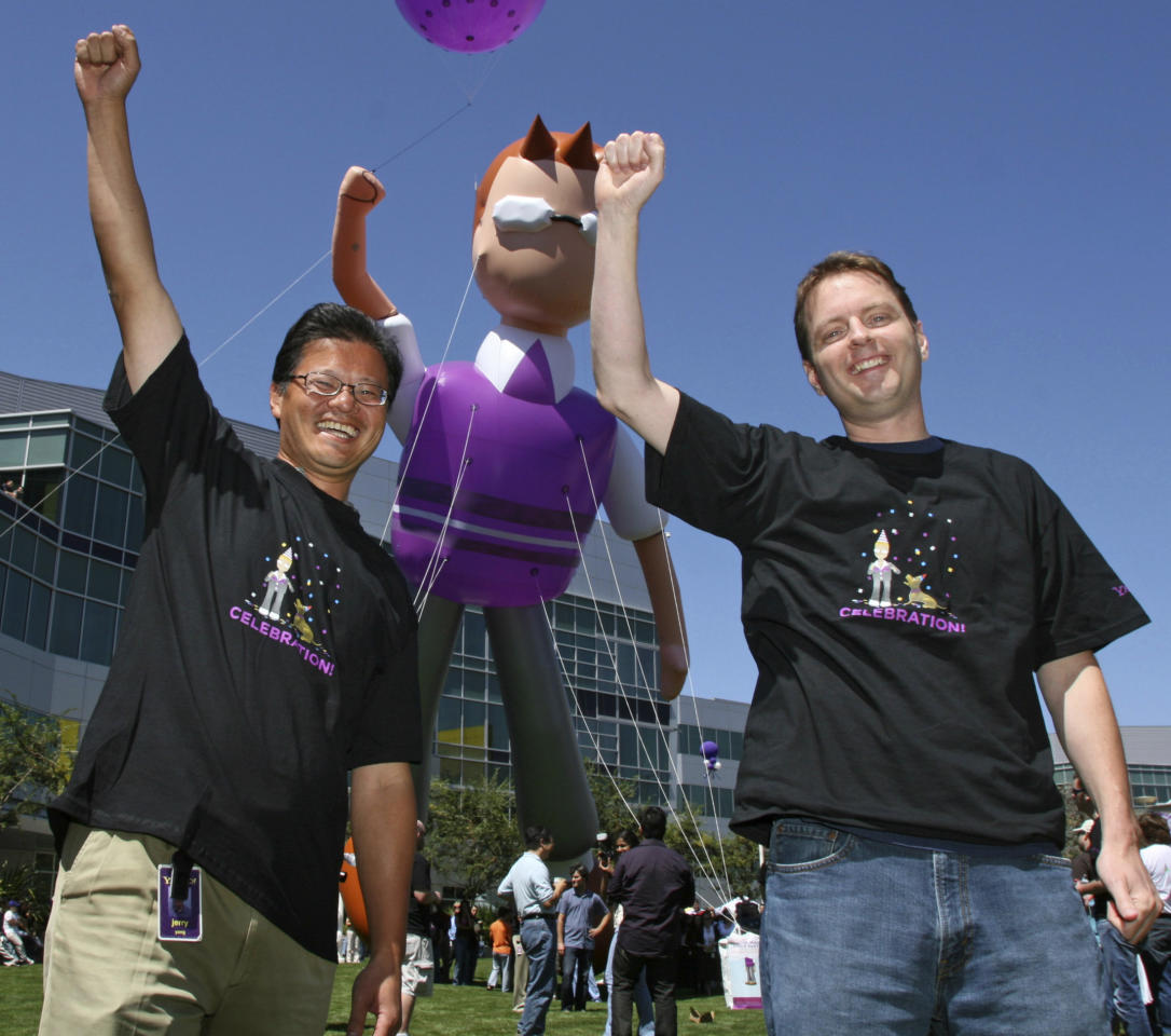 Yahoo! Inc. co-founders Jerry Yang and David Filo celebrate the launch of the new Yahoo! Mail in Sunnyvale California
