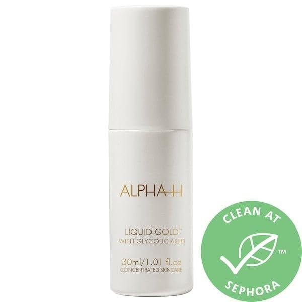 """<p>The clean <span>Alpha-H Liquid Gold Exfoliating Treatment with Glycolic Acid</span> ($20-$48) helps with fine lines, hyperpigmentation, and sun damage thanks to glycolic acid - and licorice - inside.<br><br><em>Love all things beauty? Can't get enough products? Come join our Facebook Group, <a href=""""https://www.facebook.com/groups/389401751481325/"""" class=""""link rapid-noclick-resp"""" rel=""""nofollow noopener"""" target=""""_blank"""" data-ylk=""""slk:Real Reviews With POPSUGAR Beauty""""><span class=""""s1"""">Real Reviews With POPSUGAR Beauty</span></a> There are lots of fun conversations happening there, as well as all the product recommendations you could ask for - not just from us, but also community members, too.</em></p>"""
