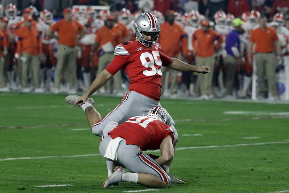 Ohio State place kicker Blake Haubeil (95) during the first half of the Fiesta Bowl NCAA college football game against Clemson, Saturday, Dec. 28, 2019, in Glendale, Ariz. (AP Photo/Rick Scuteri).