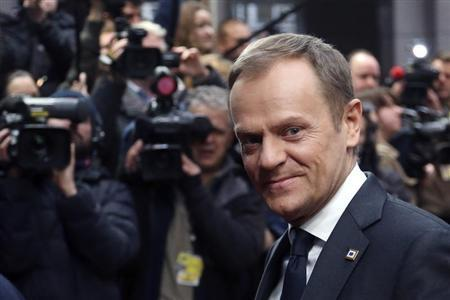 Poland's PM Tusk arrives at a European Union leaders summit in Brussels