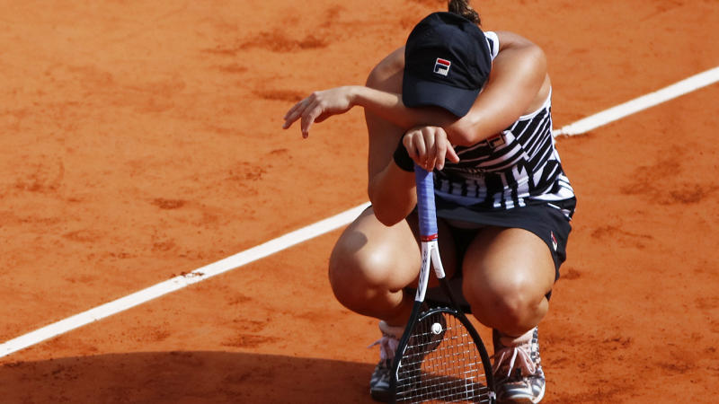 Ash Barty is pictured immediately after winning the women's singles at the 2019 French Open.