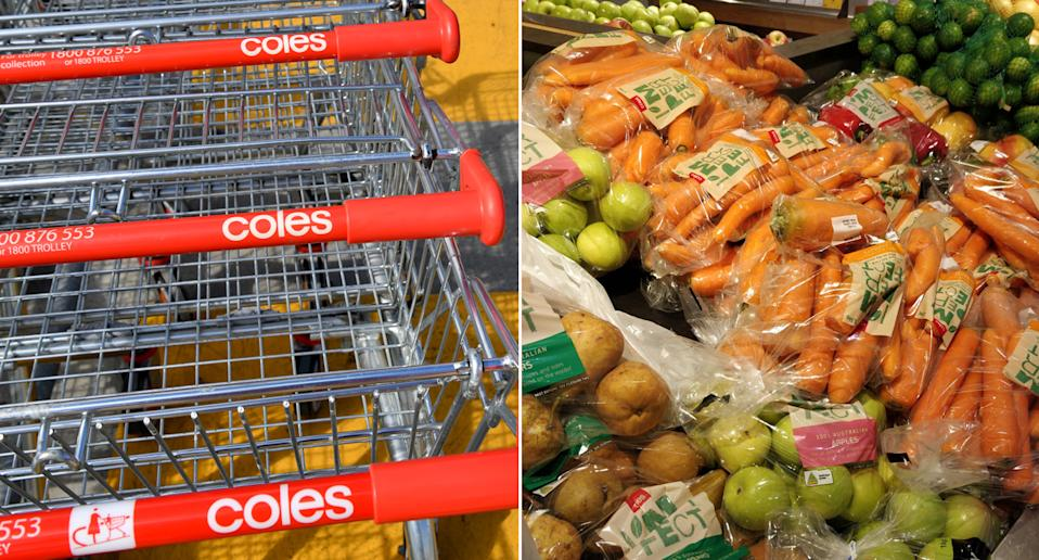 A Coles customer photographed carrots, apples, potatoes and capsicum in plastic.