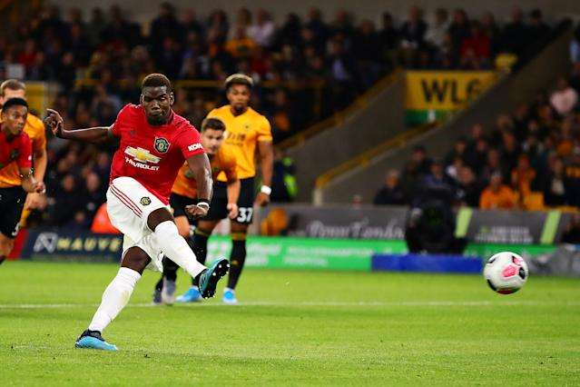 Paul Pogba's penalty for Manchester United is saved. (Photo by Chris Brunskill/Fantasista/Getty Images)
