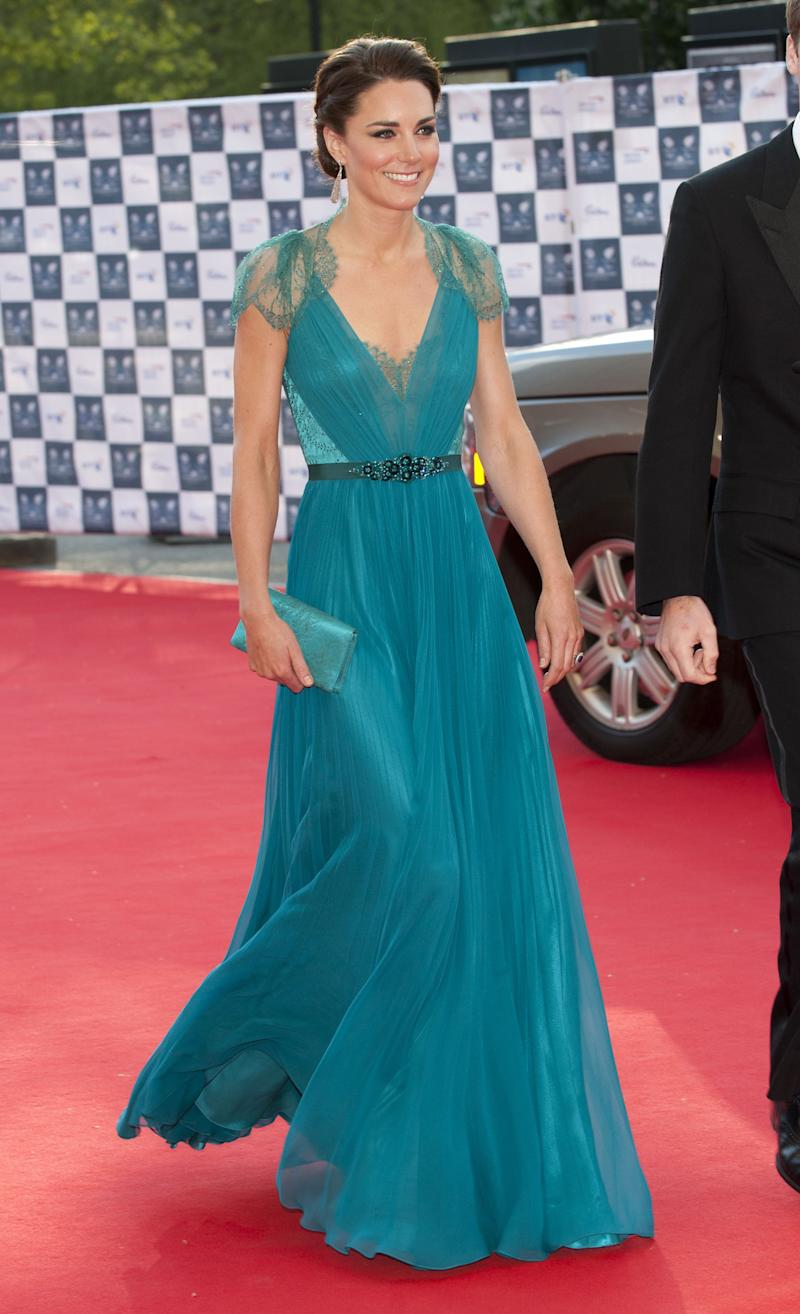 The Duchess stunned in a teal Jenny Packham gown while attending the London Olympic gala in May 2012.