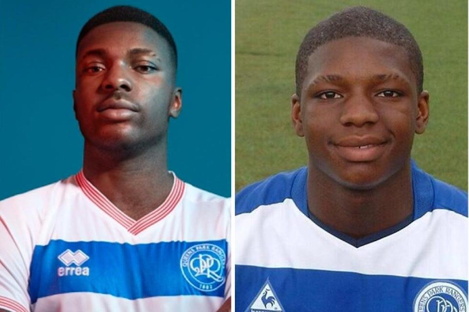 Kiyan Prince imagined as a 30-year-old player, left, and a teenager just before he was murdered in Edgware (EA Sports/ QPR)