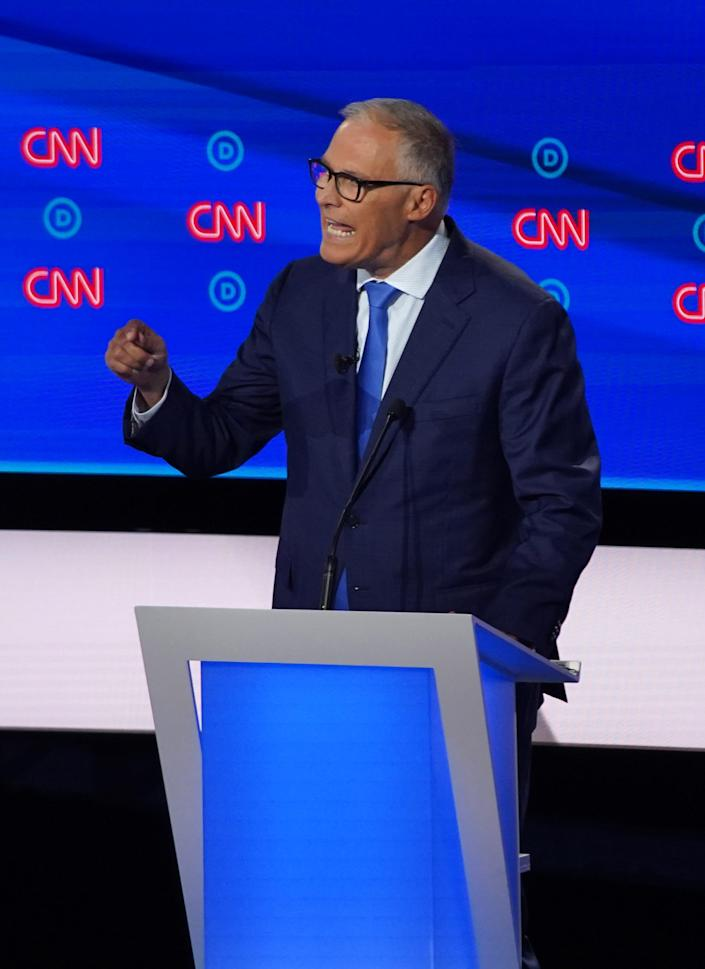 Democratic presidential candidate governor Jay Inslee of Washington during the second night of the Democratic presidential debates at the Fox Theatre in Detroit on Tuesday, July 31, 2019.