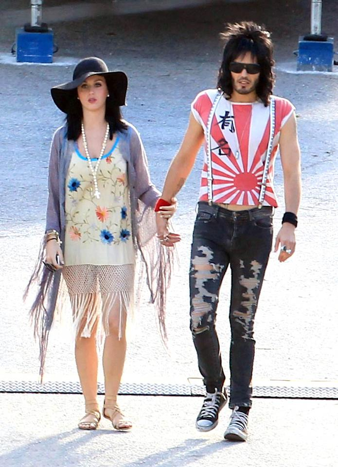 "The British Invasion heads south! Russell Brand kept his punk rocker costume while taking a break with wife Katy Perry in Florida. The funnyman is shooting the upcoming film ""Rock of Ages,"" which co-stars Alec Baldwin and Tom Cruise. Thibault Monnier/Rachid Ait/<a href=""http://www.pacificcoastnews.com/"" target=""new"">PacificCoastNews.com</a> - June 1, 2011"