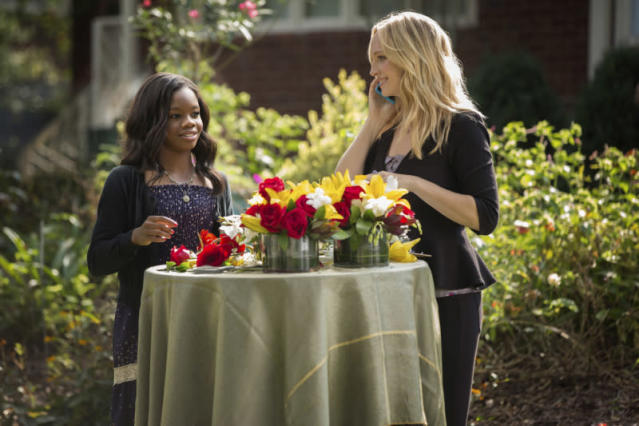 "Gabby Douglas and Candice Accola as Caroline Forbes in ""My Brother's Keeper,"" the seventh episode of ""The Vampire Diaries"" Season 4."