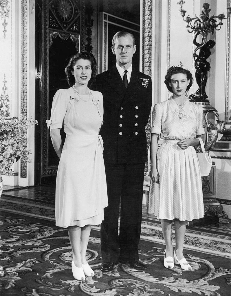 <p>With the Queen's sister Princess Margaret, a couple of months before Princess Elizabeth and Lieutenant Philip Mountbatten married, in the White Drawing Room of Buckingham Palace.</p>