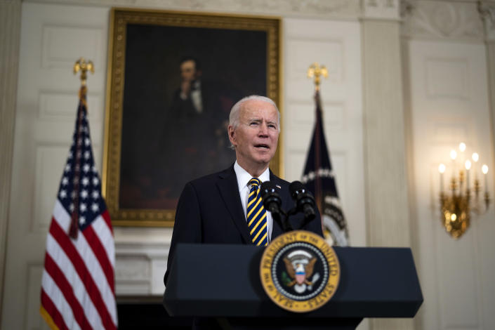 President Joe Biden talks during an executive order signing ceremony at the White House in Washington on Wednesday, Feb. 24, 2021. (Doug Mills/The New York Times)