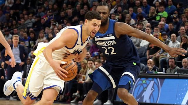 "<a class=""link rapid-noclick-resp"" href=""/nba/players/4892/"" data-ylk=""slk:Klay Thompson"">Klay Thompson</a> is shooting 44.3 percent from 3-point range this season. (AP)"