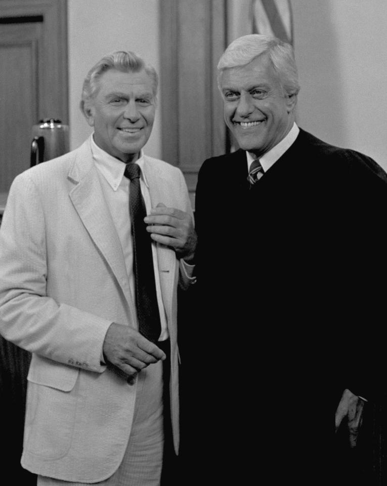 Actor Andy Griffith and Dick Van Dyke pose on the set of the series 'Matlock' in which Griffith stars in March 1986. (AP Photo)