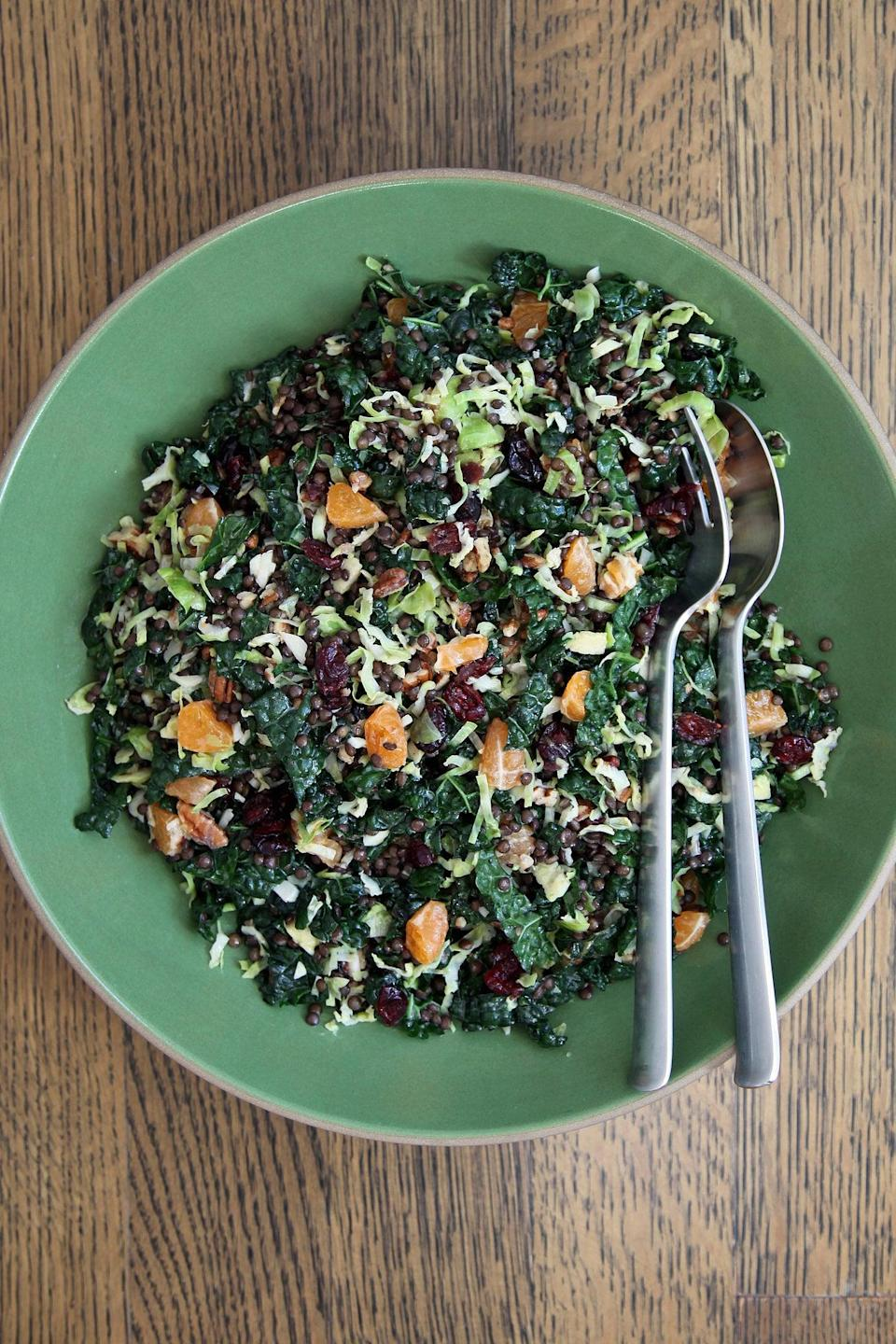 "<p>Fresh, light, and bright, this holiday salad will be a gift to your taste buds. Kale, brussels sprouts, and glossy black beluga lentils provide its wholesome base, while dried cranberries, toasted pecans, and clusters of clementine wedges are a festive nod to the season.</p> <p><strong>Get the recipe</strong>: <a href=""https://www.popsugar.com/food/Brussels-Sprout-Lentil-Kale-Salad-Cranberries-36058408"" class=""link rapid-noclick-resp"" rel=""nofollow noopener"" target=""_blank"" data-ylk=""slk:brussels sprout, beluga lentil, and cranberry holiday salad"">brussels sprout, beluga lentil, and cranberry holiday salad</a> </p>"