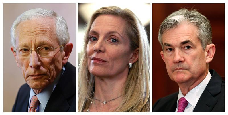 A combination photo of Bank of Israel Governor Stanley Fischer, Treasury Under Secretary for International Affairs Lael Brainard and Federal Reserve Board of Governors member Jerome Powell