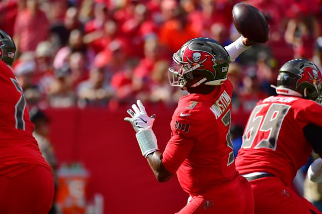 Jameis Winston of the Tampa Bay Buccaneers threw two interceptions against the Indianapolis Colts and was replaced by Ryan Griffin. (Photo by Julio Aguilar/Getty Images)