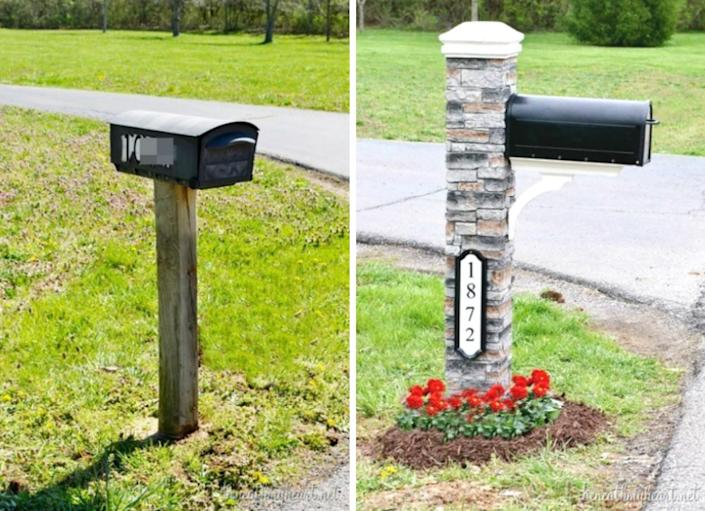 """<body><p>The <a href="""" http://www.bobvila.com/metal-mailbox/45546-you-ve-got-mail-11-inventive-diy-mailboxes/slideshows#.VQmixmTF8bo?bv=yahoo"""" rel=""""nofollow noopener"""" target=""""_blank"""" data-ylk=""""slk:mailbox"""" class=""""link rapid-noclick-resp"""">mailbox</a> may not seem like a big contributor to curb appeal, and it's often just an afterthought in home construction. But you can't deny that this stately upgrade makes a big difference in this property's street-side impression. This makeover is so much easier than it looks, accomplished by simply fitting a cast-stone surround over a 4x4 post.</p></body>"""