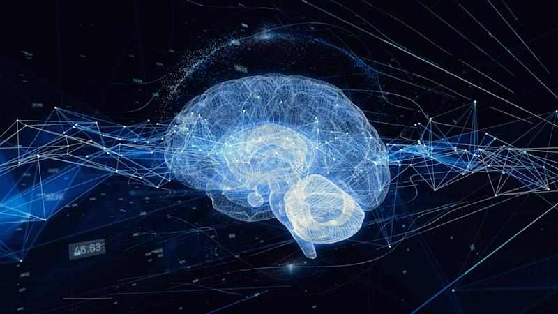 The outline of a brain on a back background.