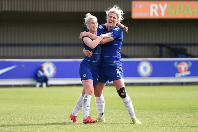 Bethany England celebrates with teammate Millie Bright after scoring (Chelsea FC via Getty Images)