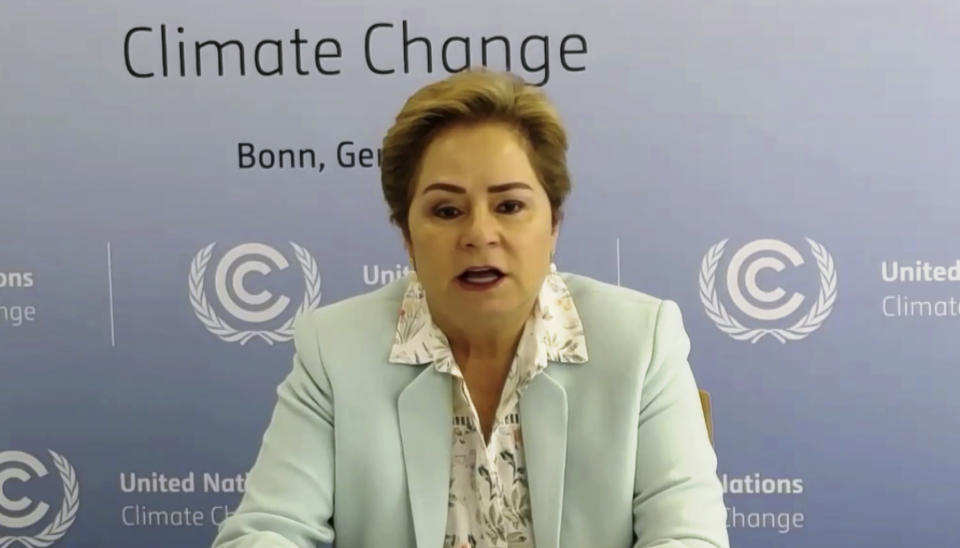 In this photo taken from video streamed online and provided by Ministry of Environment Government of Japan, Patricia Espinosa, Executive Secretary of the United Nations Framework Convention on Climate Change (UNFCCC) speaks during the Online Platform Ministerial Meeting Thursday, Sept. 3, 2020. U.N. Secretary General Antonio Guterres is urging Japan and other wealthy nations to give up reliance on coal and other fossil fuels and commit to investments in green energy as they recover from the coronavirus pandemic. (Ministry of Environment Government of Japan via AP)